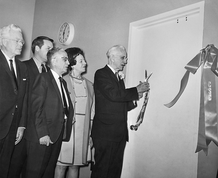 Speaker of the House Rep. John William McCormack, D-Mass., House of Representatives Member cutting a ribbon. 1969 (Photo by CQ Roll Call)