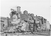 3/4 fireman side view of K-37 #490 with engine house in background.<br /> D&amp;RGW  Salida, CO