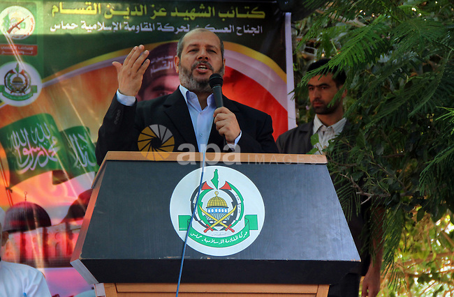 Senior Hamas leader Khalil al-Hayya speaks during his inspection visit to Rafah in the southern Gaza Strip, on September 12, 2014. Hamas's exiled deputy leader said Wednesday that indirect talks with Israel to consolidate a Gaza ceasefire are to resume in Cairo in mid-September. Photo by Abed Rahim Khatib