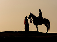 silhouettes at sunset, Narlai, Rajasthan