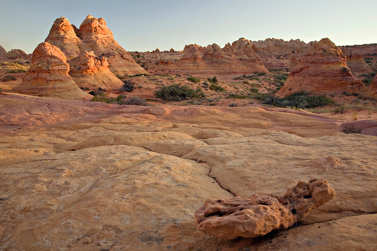 Cottonwood Teepees commonly found in South Coyote Buttes are illuminated by the evening sun