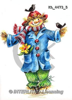 Interlitho, STILL LIFE STILLLEBEN, NATURALEZA MORTA, paintings+++++,KL4473/5,#i# stickers,halloween, scarecrow,