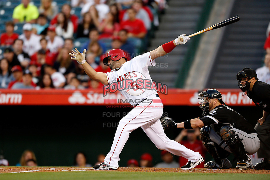 Albert Pujols #5 of the Los Angeles Angels bats against the Chicago White Sox at Angel Stadium on May 17, 2013 in Anaheim, California. (Larry Goren/Four Seam Images)