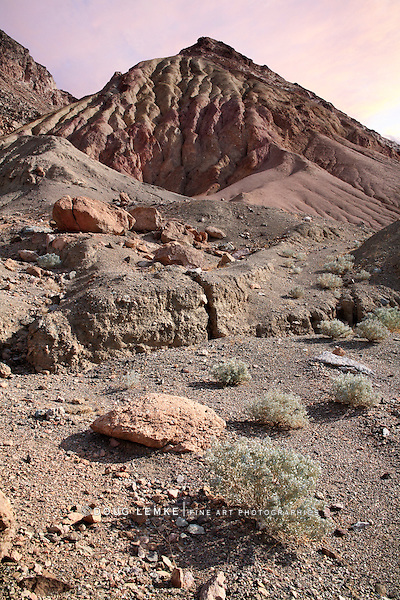 A Mars Like Landscape, Sagebrush And Melting Peaks Along Artists Drive; Death Valley National Park, California
