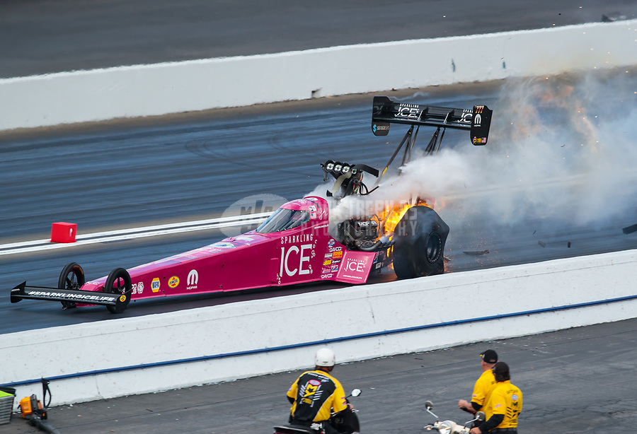 Feb 9, 2019; Pomona, CA, USA; NHRA top fuel driver Leah Pritchett explodes an engine on fire during qualifying for the Winternationals at Auto Club Raceway at Pomona. Mandatory Credit: Mark J. Rebilas-USA TODAY Sports