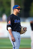 Missoula Osprey third baseman Joey Rose (24) on defense against the Billings Mustangs at Dehler Park on August 21, 2017 in Billings, Montana.  The Osprey defeated the Mustangs 10-4.  (Brian Westerholt/Four Seam Images)