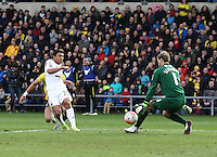 Jefferson Montero of Swansea attempt on goal is saved by Sam Slocombe of Oxford United   during the Emirates FA Cup 3rd Round between Oxford United v Swansea     played at Kassam Stadium  on 10th January 2016 in Oxford