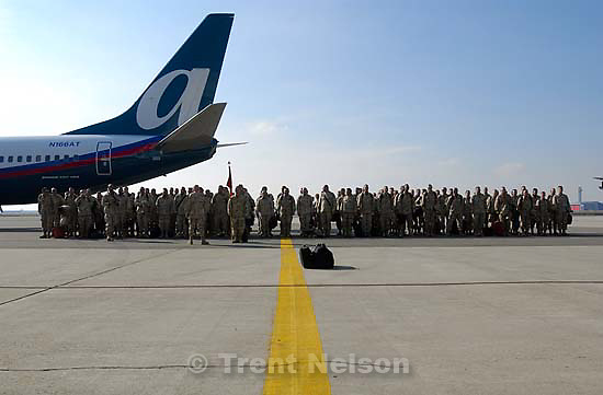Friends and family welcome the men of the Army National Guard's 116th Engineering Battalion home from Iraq.&amp;#xA;2.17.2005<br />