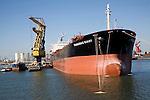 Cargo ship 'Panamax Giant' in shipyard at Botlek, Port of Rotterdam, Netherlands