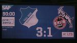 Der Endstand 3:1 wird auf der Anzeigentafel angezeigt<br /> <br /> Foto: POOLFOTO/Avanti/Ralf Poller/PIX-Sportfotos.<br /> TSG 1899 Hoffenheim-1. FC Koeln.<br /> Sinsheim,  GER, 27.05.2020 , 28. Spieltag , Fussball 1. Bundesliga 2019/2020.<br /> <br /> Sport: Fussball: LIGA: Saison 19/20: TSG 1899 Hoffenheim- 1.FC Koeln, 27.05.2020.<br /> Foto: RALF POLLER/AVANTI/POOL<br /> <br /> Nur für journalistische Zwecke! Only for editorial use! <br /> Gemäß den Vorgaben der DFL Deutsche Fußball Liga ist es untersagt, in dem Stadion und/oder vom Spiel angefertigte Fotoaufnahmen in Form von Sequenzbildern und/oder videoähnlichen Fotostrecken zu verwerten bzw. verwerten zu lassen. DFL regulations prohibit any use of photographs as image sequences and/or quasi-video.