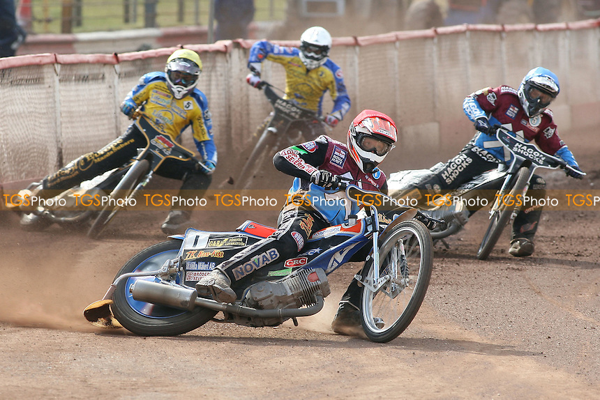 Heat 15: Peter Karlsson (red) and Lee Richardson ahead of Lewis Bridger and Simon Gustafsson - Lakeside Hammers vs Eastbourne Eagles - Sky Sports Elite League Speedway at Arena Essex Raceway, Purfleet - 06/04/12 - MANDATORY CREDIT: Gavin Ellis/TGSPHOTO - Self billing applies where appropriate - 0845 094 6026 - contact@tgsphoto.co.uk - NO UNPAID USE.