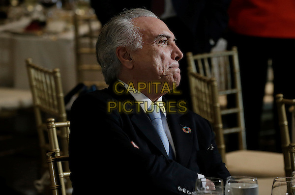 President Michel Temer of Brazil attends a luncheon for world leaders during the United Nations 71st session of the General Debate at United Nations  headquarters in New York, New York, USA, 20 September 2016.<br /> CAP/MPI/RS<br /> &copy;RS/MPI/Capital Pictures