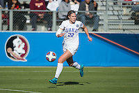 Cary, North Carolina - Sunday December 6, 2015: Malinda Allen (22) of the Duke Blue Devils chases after the ball during second half action against the Penn State Nittany Lions at the 2015 NCAA Women's College Cup at WakeMed Soccer Park.  The Nittany Lions defeated the Blue Devils 1-0.