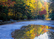 Reflection of autumn colors along the Swift River, which is located next to the Kancamagus Highway (route 112) in the White Mountains, New Hampshire USA