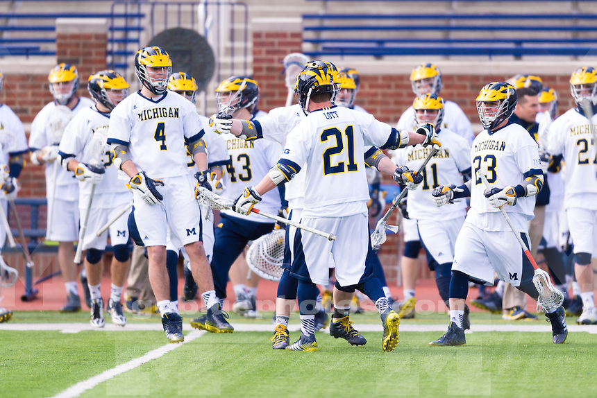 The University of Michigan men's lacrosse team ,13-12, loss to Dartmouth University at Michigan Stadium in Ann Arbor, Mich., on March. 19, 2016.