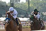 ARCADIA, CA  APRIL 7: #6 Justify, ridden by Mike Smith, wins the Santa Anita Derby (Grade l) on April 7, 2018, at Santa Anita Park in Arcadia, Ca.Photo by Casey Phillips/ Eclipse Sportswire/ Getty Images)