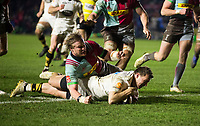 Wasps' Brendan Macken scores his side's fourth try<br /> <br /> Photographer Bob Bradford/CameraSport<br /> <br /> European Rugby Challenge Cup - Harlequins v Wasps - Sunday 13th January 2018 - Twickenham Stoop - London<br /> <br /> World Copyright &copy; 2018 CameraSport. All rights reserved. 43 Linden Ave. Countesthorpe. Leicester. England. LE8 5PG - Tel: +44 (0) 116 277 4147 - admin@camerasport.com - www.camerasport.com