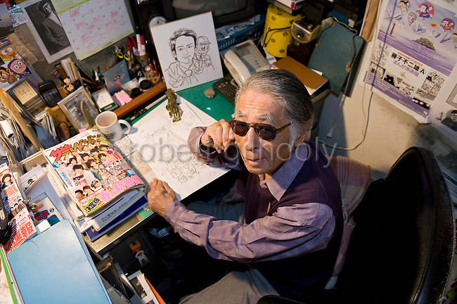 Abiko Moto, better know as manga writer Fujiko Fujio, poses for aphoto at his offices in Tokyo, Japan on FrIday 26 Feb.  2010.