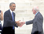 United States President Barack Obama shakes hands with former U.S. President Jimmy Carter following Carter's  remarks at the Let Freedom Ring ceremony on the steps of the Lincoln Memorial to commemorate the 50th Anniversary of the March on Washington for Jobs and Freedom<br /> Credit: Ron Sachs / CNP