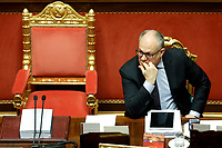 The Italian Minister of Economy Roberto Gualtieri at the Senate biting his mails during the discussion and vote for the updating of the budget document for 2020. Rome (Italy), July 29th 2020<br /> Photo Samantha Zucchi Insidefoto