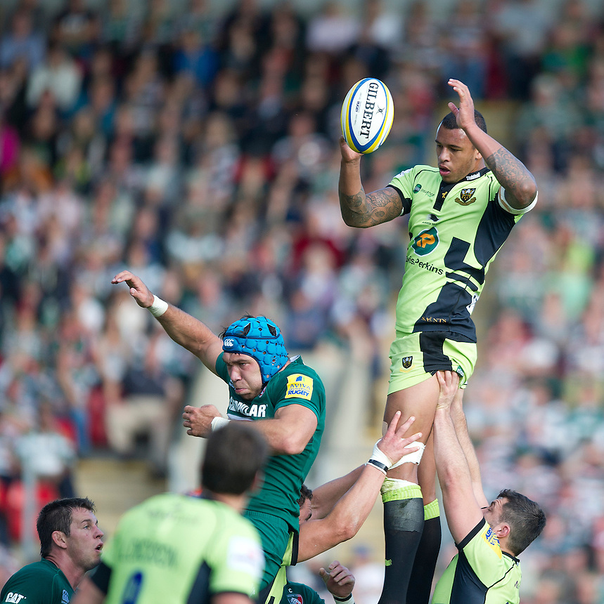 Northampton Saints' Courtney Lawes  wins the ball in a line-out<br /> <br /> Photo by Stephen White/CameraSport<br /> <br /> Rugby Union - Aviva Premiership - Leicester Tigers v Northampton Saints - Saturday 5th October 2013 - Welford Road - Leicester<br /> <br /> &copy; CameraSport - 43 Linden Ave. Countesthorpe. Leicester. England. LE8 5PG - Tel: +44 (0) 116 277 4147 - admin@camerasport.com - www.camerasport.com