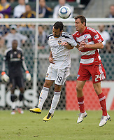 LA Galaxy midfielder Juninho (19) battles with FC Dallas midfielder Eric Alexander (24). The LA Galaxy defeated FC Dallas 2-1 at Home Depot Center stadium in Carson, California on Sunday October 24, 2010.