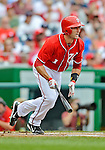 22 July 2012: Washington Nationals infielder Stephen Lombardozzi in action against the Atlanta Braves at Nationals Park in Washington, DC. The Nationals defeated the Braves 9-2 to split their 4-game weekend series. Mandatory Credit: Ed Wolfstein Photo