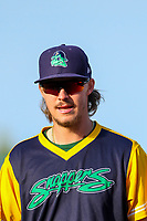 Beloit Snappers outfielder Austin Beck (22) prior to a Midwest League game against the Wisconsin Timber Rattlers on May 17, 2018 at Fox Cities Stadium in Appleton, Wisconsin. Beloit defeated Wisconsin 8-7. (Brad Krause/Four Seam Images)