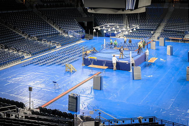 March 3, 2017; Joyce Center staff work on assembling the ring and seating in preparation for the 2017 Bengal Bouts finals. (Photo by Matt Cashore/University of Notre Dame)