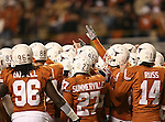 Texas Longhorns kicker Michael Summerville (27), Texas Longhorns kicker William Russ (14) in the pre-game huddle during the Texas A & M vs. Texas Longhorns football game at the Darrell K Royal - Texas Memorial Stadium in Austin, Tx. Texas A & M defeats Texas 24 to 17....