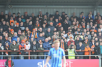 Blackpool fans watch their team in action <br /> <br /> Photographer Kevin Barnes/CameraSport<br /> <br /> The EFL Sky Bet League One - Fleetwood Town v Blackpool - Saturday 7th March 2020 - Highbury Stadium - Fleetwood<br /> <br /> World Copyright © 2020 CameraSport. All rights reserved. 43 Linden Ave. Countesthorpe. Leicester. England. LE8 5PG - Tel: +44 (0) 116 277 4147 - admin@camerasport.com - www.camerasport.com