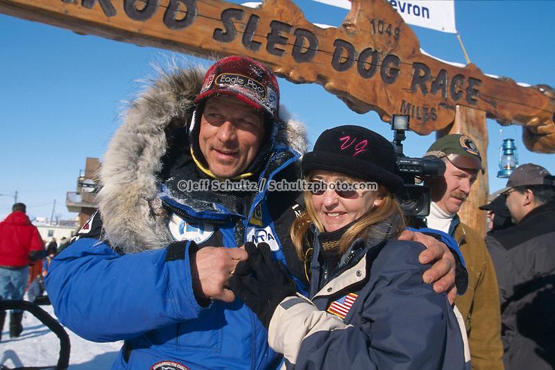 Martin Buser & Wife Kathy Chapoton @ Finish Line Nome.2004 Iditarod