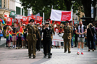 Members of the armed forces join thousands of people in this year's Pride Parade in the centre of Cardiff, Wales, UK. Sayurday 26 August 2017