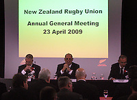 NZRU CEO Steve Tew, chairman Jock Hobbs and outgoing president Andy Leslie during the 2009 New Zealand Rugby Union AGM at NZRU Head Office, Wellington, New Zealand on Thursday, 23 April 2009. Photo: Dave Lintott / lintottphoto.co.nz