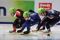 SCHAATSEN: DORDRECHT: Sportboulevard, Korean Air ISU World Cup Finale, 10-02-2012, Ho-Suk Lee KOR (52), Yongjun Yu CHN (15), Vladimir Grigorev RUS (68), ©foto: Martin de Jong