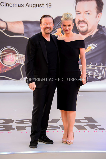 www.acepixs.com<br /> <br /> August 10 2016, London<br /> <br /> Ricky Gervais and Jane Fallon arriving at the world premiere of 'David Brent: Life On The Road' at the Odeon Leicester Square on August 10 2016 in London.<br /> <br /> By Line: Famous/ACE Pictures<br /> <br /> <br /> ACE Pictures Inc<br /> Tel: 6467670430<br /> Email: info@acepixs.com<br /> www.acepixs.com