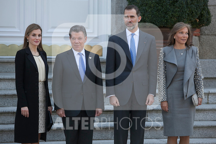 Spanish Royals King Felipe VI of Spain and Queen Letizia of Spain during the Colombia´s President Juan Manuel Santos and his wife Maria Clemencia Rodriguez welcome ceremony at Zarzuela Palace in Madrid, Spain. March 01, 2015. (ALTERPHOTOS/Victor Blanco)