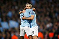 Sergio Aguero of Manchester City celebrates with Raheem Sterling of Manchester City after scoring his side's fourth goal to make the score 4-2 during the UEFA Champions League Quarter Final second leg match between Manchester City and Tottenham Hotspur at the Etihad Stadium on April 17th 2019 in Manchester, England. (Photo by Daniel Chesterton/phcimages.com)<br /> Foto PHC/Insidefoto <br /> ITALY ONLY