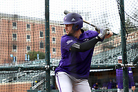 CHAPEL HILL, NC - FEBRUARY 19: Sam Zayicek #28 of High Point University takes a swing in the batting cage during a game between High Point and North Carolina at Boshamer Stadium on February 19, 2020 in Chapel Hill, North Carolina.