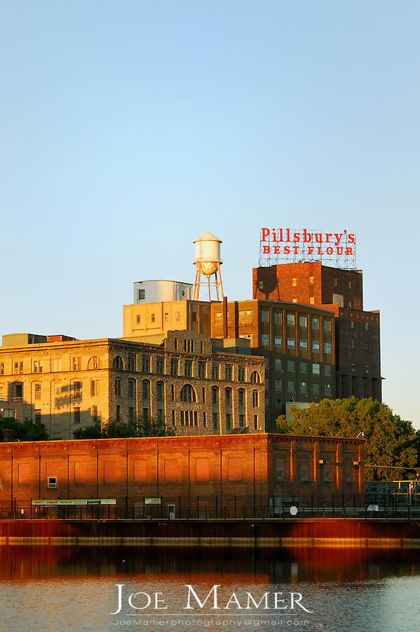 A view of the Riverplace area of downtown Minneapolis, Minnesota including the historic Pillsbury Mill.