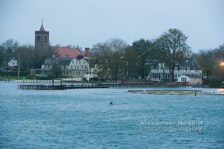 Newport, RI - THe Elm Street Pier goes under the rising storm surge at the evening high tide during Hurricane Sandy in Newport Rhode Island
