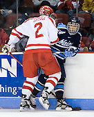Eric Gryba (BU - 2), Vince Laise (Maine - 55) - The Boston University Terriers defeated the University of Maine Black Bears 1-0 (OT) on Saturday, February 16, 2008 at Agganis Arena in Boston, Massachusetts.