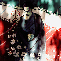 A portrait of Ayatollah Khomeini on a wall in Tehran.