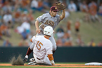 Arizona State Sun Devil second baseman Zach McPhee #2 prepares to tag Texas Longhorn baserunner Mark Payton #15 in NCAA Tournament Super Regional Game #3 on June 12, 2011 at Disch Falk Field in Austin, Texas. (Photo by Andrew Woolley / Four Seam Images)