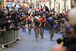 Tiesj Benoot (BEL) Lotto Soudal, Zdenek Štybar (CZE) Deceuninck-QuickStep and Greg Van Avermaet (BEL) CCC Team climb Via Santa Caterina in Siena in the last km of Strade Bianche 2019 running 184km from Siena to Siena, held over the white gravel roads of Tuscany, Italy. 9th March 2019.<br /> Picture: Eoin Clarke | Cyclefile<br /> <br /> <br /> All photos usage must carry mandatory copyright credit (© Cyclefile | Eoin Clarke)
