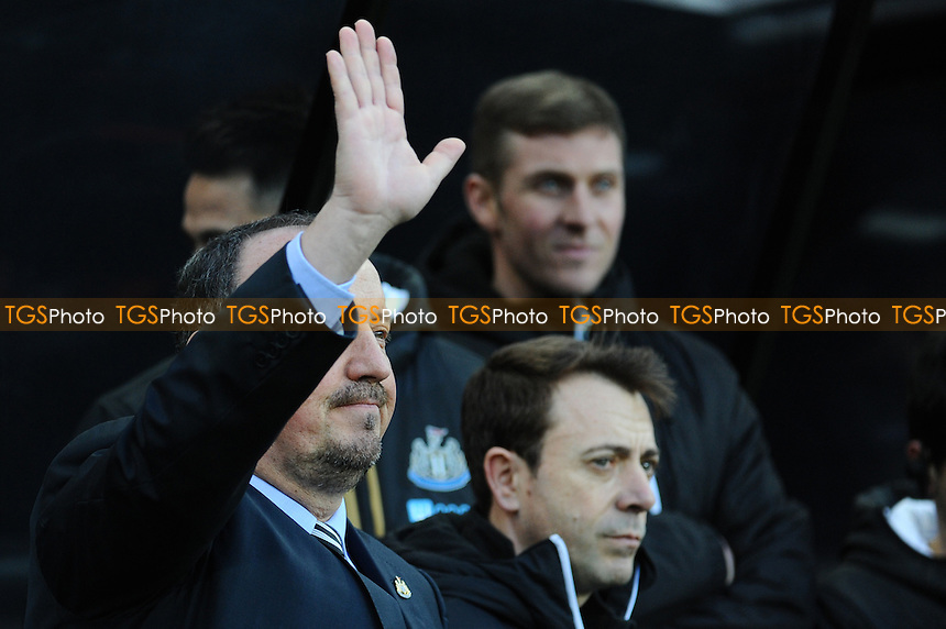 Newcastle United manager Rafa Benítez applauds fans as they sing his name before kick off during Newcastle United vs Derby County, Sky Bet EFL Championship Football at St. James' Park on 4th February 2017
