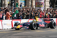 Red Bull Racing's Dutch driver Max Verstappen performs during the Great Run sports car show held in downtown Budapest, Hungary on May 1, 2019. ATTILA VOLGYI