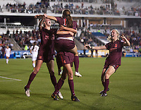 Ashley Meier, Ashley Manning, Kelsey Loupee. Florida State defeated Virginia Tech, 3-2,  at the NCAA Women's College Cup semifinals at WakeMed Soccer Park in Cary, NC.