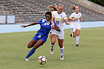 19 August 2016: Duke's Mia Gyau (20) and Wofford's Brooke Leftwich (16). The Duke University Blue Devils played the Wofford College Terriers in a 2016 NCAA Division I Women's Soccer match. Duke won the game 9-1.
