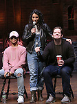 Jordan Fisher, Stephanie Klemons and Rory O'Malley from 'Hamilton' greet High School students from The Rockefeller Foundation, and The Gilder Lehrman Institute of American History before a 'Hamilton' matinee performance at the Richard Rodgers Theatre on 11/30/2016 in New York City.
